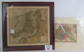 A framed map of China by John Cary, dated 1811 and a map of Turkey in Asia published by W&T Darton