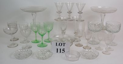 A selection of early 19th to early 20th Century drinking glasses and glassware including two