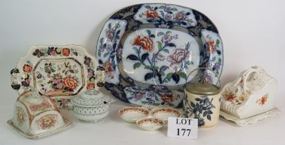 Two large Ironstone meat platters, two covered cheese dishes, a biscuit barrel, lidded tureen and