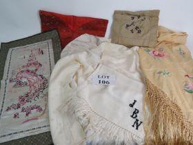 A vintage Chinese silk hand embroidered shawl, a silk jacket, monogrammed silk scarf, silk pyjama