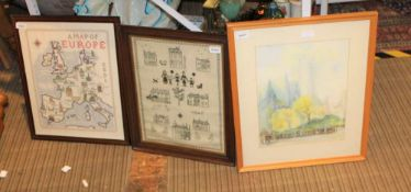 A SELECTION OF DECORATIVE PICTURES & NEEDLEWORKS