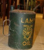 A GREEN FINISHED SHELL-MEX BP LTD LAMP OIL CONTAINER, together with a selection of galvanized