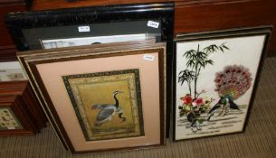 THREE PAIRS OF ORIENTAL INFLUENCED PRINTS & SILK WORKS