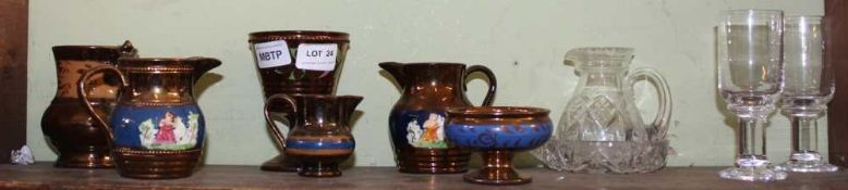 A SMALL SELECTION OF 19TH CENTURY COPPER LUSTRE WARES together with a selection of domestic