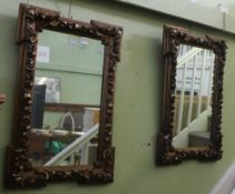 A PAIR OF VERY FANCY GILT FRAMED PLAIN PLATE WALL MIRRORS