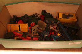 A SHOE BOX OF COLLECTOR'S DIE-CAST VEHICLES to include military examples
