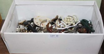 A SHOE BOX CONTAINING COSTUME JEWELLERY and associated items