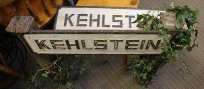 TWO PAINTED CAST METAL SIGNS bearing the legend 'Kehlstein'