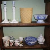 TWO SHELVES CONTAINING A SELECTION OF DOMESTIC POTTERY & PORCELAIN to include, a pair of white glass