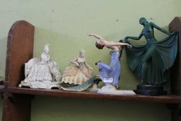 FIVE VARIOUS FEMALE FIGURINES