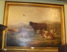 EDWIN BROWN OF COVENTRY A late 19th century oil on canvas portrait study of livestock cattle,
