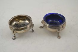 DAVID MOWDEN A GEORGE III SILVER SALT, raised on three feet, London 1761, together with one other