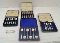 WILLIAM DAVENPORT A CASE OF SIX LATE VICTORIAN SILVER COFFEE SPOONS, spiral twist handles,