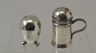 A VICTORIAN SILVER KITCHEN PEPPER, Birmingham 1894, together with an egg shaped pepper, Sheffield