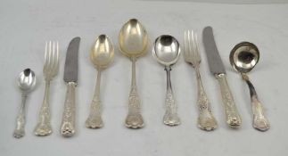 A 'MAPPIN & WEBB' MAPPIN PLATE SET OF KINGS PATTERN PLATED CUTLERY comprising; 12 dinner forks, 12