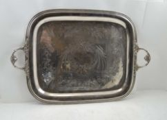 ADOLPHE BOULENGER A 19TH CENTURY SILVER PLATE FRENCH TWO-HANDLED TEA TRAY, with cast decorative