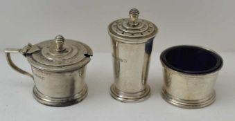 AN ART DECO THREE PIECE SILVER CONDIMENT SET, Birmingham 1935, comprising; salt, pepper pot and