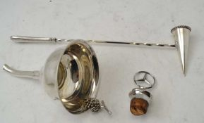 A SILVER PLATED WINE FUNNEL, a Mercedes car mascot cork stopper and a plated candle snuffer (3)