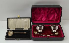 ATKIN BROTHERS A CASED PAIR OF SILVER SALTS & SPOONS, in satin and velvet lined case, the salts