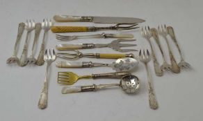 TEN FRENCH WHITE METAL OYSTER FORKS, a silver handled sardine server, five silver plated serving