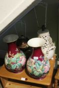 A COPPER BASED LAMP formed from a small samovar, together with a pair of floral decorated vases, and