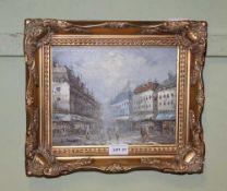 A TYPICAL OIL ON CANVAS PARISIENNE STREET SCENE bearing the name 'Burnett' in decorative gilt frame