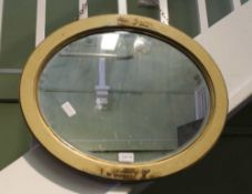 AN OVAL BEVEL PLATE WALL MIRROR in Oriental design lacquer frame