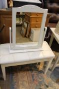 A MODERN RECTANGULAR PAD TOPPED DRESSING TABLE STOOL, together with a white framed adjustable