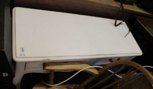 A WHITE PAINTED TWO DRAWER SIDE TABLE on Continental cabriole legs