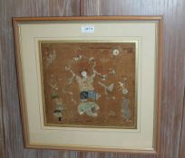 A PROBABLE 19TH CENTURY ORIENTAL SILK WORK OF LIU HAICHAN, typically portrayed with his money belt
