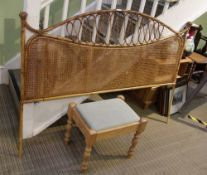 A BAMBOO FRAMED DOUBLE BED HEADBOARD together with a plain pine framed rectangular stool