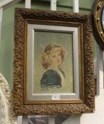 P. MELVILLE AN OIL ON CANVAS STUDY OF A YOUNG GIRL dated 1904, in moulded period gilt frame