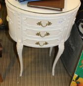 A MARIE ANTOINETTE DESIGN OVAL THREE DRAWER BEDROOM CHEST
