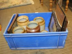 A CRATE CONTAINING A SELECTION OF KITCHEN STORAGE CROCKS together with a selection of decorative