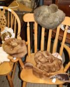 """THREE FUR LADY'S HATS; including two mink, one labelled """"Hermine, Paris"""" and a mink collar"""