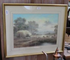 A 20TH CENTURY PASTEL STUDY OF HAY MAKING indistinctly signed, in decorative mount and slender