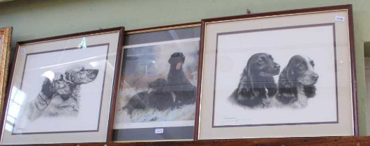 THREE COLOURED PRINTS, each depicting a pair of working dogs