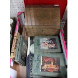 A BOX CONTAINING A SELECTION OF ART REFERENCE BOOKS together with a Victorian stationery box