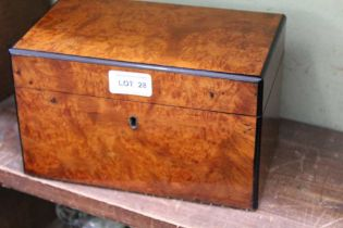 A 20TH CENTURY POLLARD WOOD TEA CADDY of plain box form, opening to reveal two dome topped pull