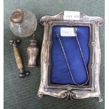 AN ART NOUVEAU DESIGN HALLMARKED SILVER FRAME together with a sundry selection of other items