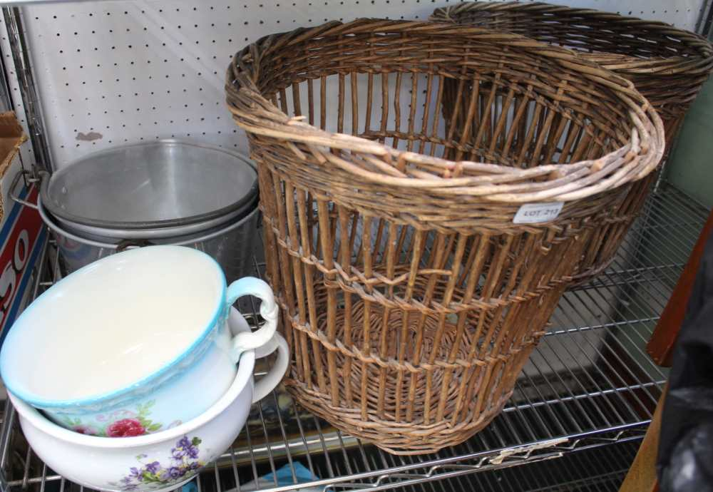 TWO MID-CENTURY WOVEN WICKER WORK WASTE PAPER BASKETS together with two pottery chamber pots, and