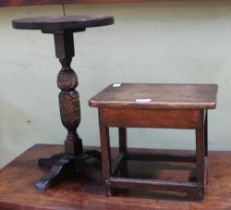 A WOODEN STAND & A WOODEN STOOL