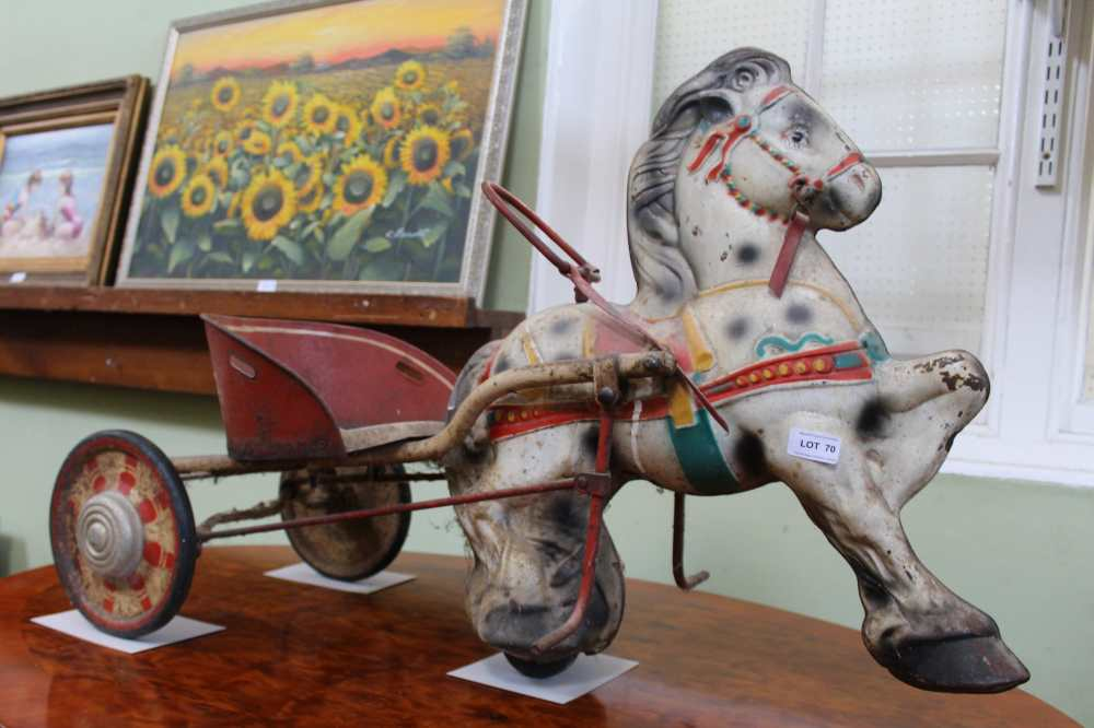 AN ORIGINAL PAINTED PRESSED METAL MOBO PONY EXPRESS