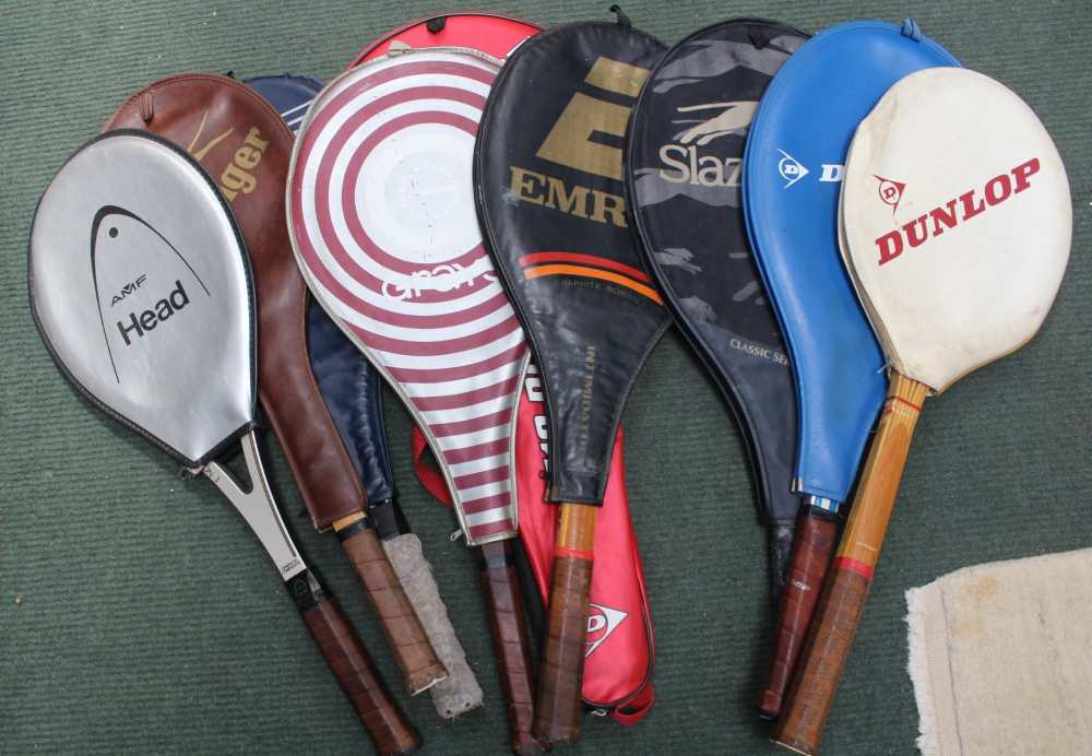 A COLLECTION OF TENNIS RACKETS VARIOUS