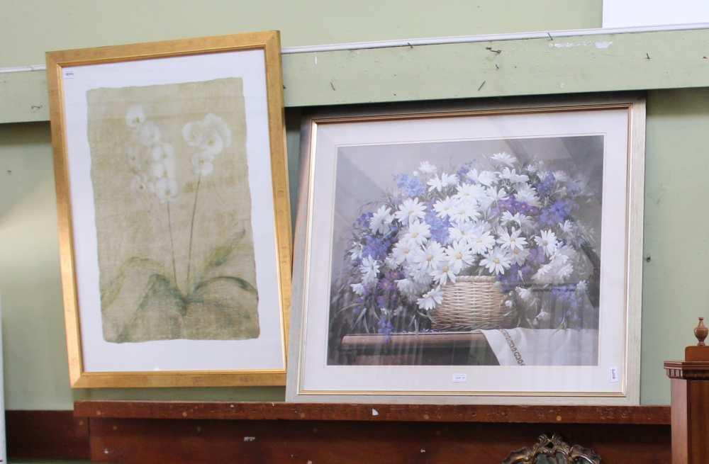 TWO LARGE DECORATIVE COLOURED FLORAL PRINTS one silver framed, one gilt framed
