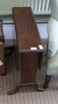 A MAHOGANY TWIN FLAP COFFEE TABLE, supported on plain plank uprights and four downswept legs