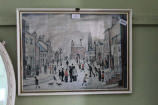A COLOURED LOWRY PRINT OF A NORTHERN STREET SCENE