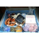 A SMALL BLUE CRATE CONTAINING GLASS & CHINAWARES to include paperweights