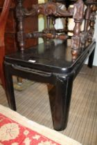A BLACK FINISHED ORIENTAL DESIGN LONG & LOW COFFEE TABLE (or perhaps a stool)