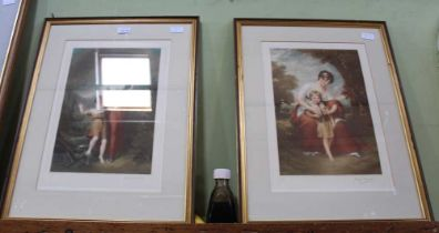 A PAIR OF FRAMED & GLAZED 19TH CENTURY STYLE PRINTS of mother & child